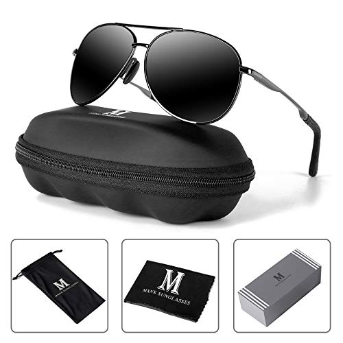 MXNX Aviator Sunglasses for Men Polarized Women UV Protection Lightweight Driving Fishing Sports Mens Sunglasses MX208-(Gun/Black ()