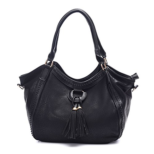 Women Handbag Tote Bag Top Hnadlle Crossbody Shoulder Bag PU Leather Purse For Ladies Office Winter (Black)