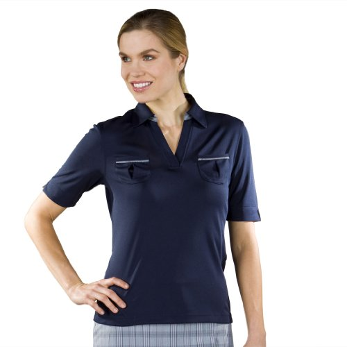 Monterey Club Ladies' Dry Swing Contrast Shirt #2130 (Navy, Medium)