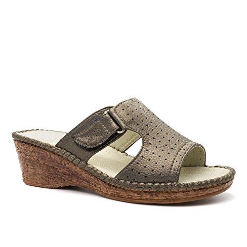 London Footwear - talón abierto mujer gris