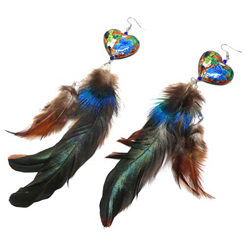- Double Chain Dangle Extra Long Feather Earrings Chinese Cloisonne Enamel Hummingbird