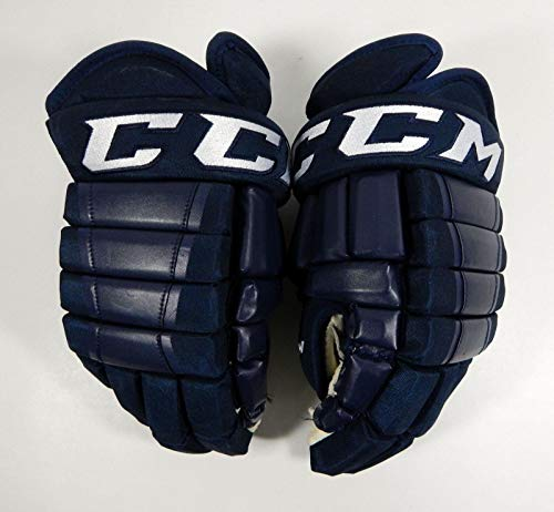 2018-19 Kalamazoo Wings Game Used CCM HG98 Pro Stock Navy Hockey Gloves 14 - NHL Game Used