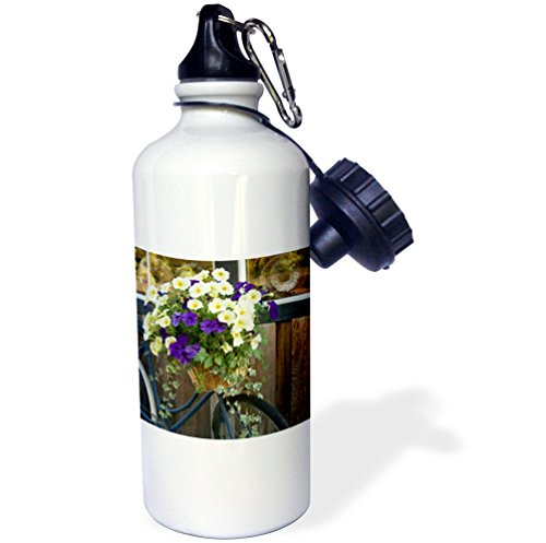 Danita Delimont - Canada - Vancouver Island. Flowers, bicycle in front of bakery, Cowichan Bay - 21 oz Sports Water Bottle (wb_226780_1)