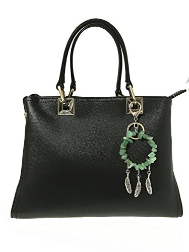 QTMY Natural Jade Gemstone 7 Chakra Keychains Keyrings Jewelry for Women (Green/Jade)