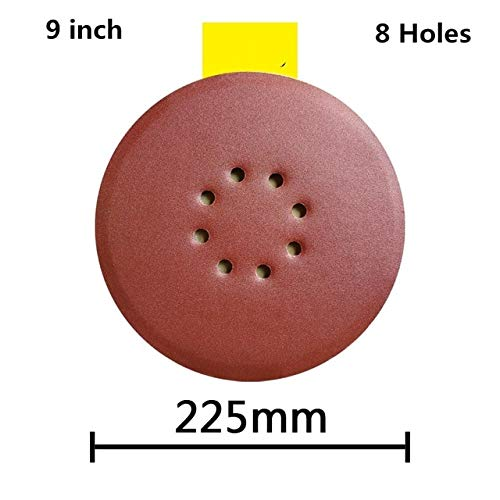 Maslin 100pcs/set 9''/225mm 6/8Holes 40-600 Grit Sanding Disc Random Orbit Hook Loop Woodworking Sander Sand Paper Discs Grit Sand - (Grit: 180Grit, Color: 8 Holes)