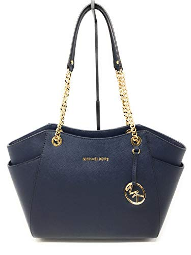 (MICHAEL Michael Kors Women's Jet Set Travel Saffiano Large Chain Shoulder Tote, Style 35T5GTVT3L (Navy Saffiano/Gold Hardware))