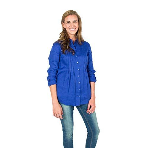 TYLER BOE Pin Tuck Linen Shirt in Cobalt Final Sale - Final Sale Linen Shirt