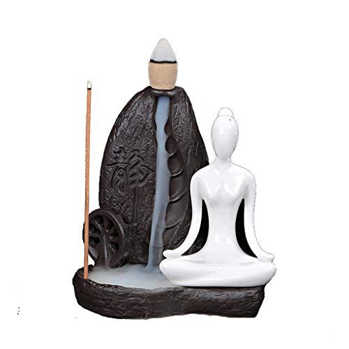 Backflow Incense Burner Creative Home Decor Ceramic Dragon Censer Stick Incense Holder (Color : Black)