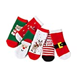 PRETYZOOM 6 Pair Casual Socks for Kids Christmas Colorful Fun Printed Cotton Crew Socks Warm Holiday Xmas Party Gifts for 7-10 Years Old (Mixed Socks)