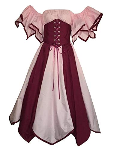 (Women Renaissance Cosplay Dress Off Shoulder, Retro Medieval Gothic Victorian Costume (Tag Size-S,)