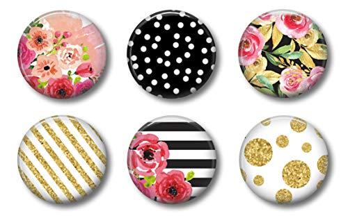 Cute Locker Magnets For Girls - Black and Pink Floral Design - Graduation or Teacher Appreciation Gift Set