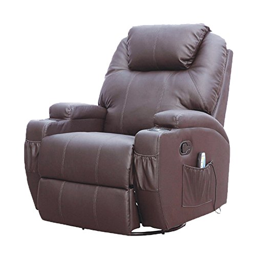 MSG Massage Recliner Leather Sofa Chair Ergonomic Lounge Swivel Heated With  Control Brown