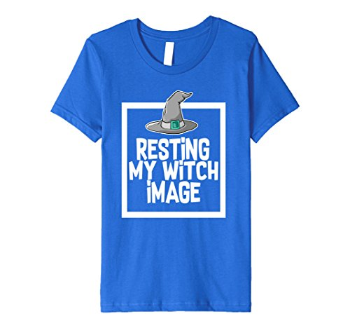 Kids Resting My Witch Image Halloween Costume Girls Tshirt Tee 8 Royal Blue