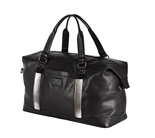 """WIND & VIBES MANHATTAN """"SILVER"""" - Weekender Reisetasche aus Echtleder (Handgepäckmaße). Handgefertigte Design Tasche aus schwarzem Nappa Leder."""
