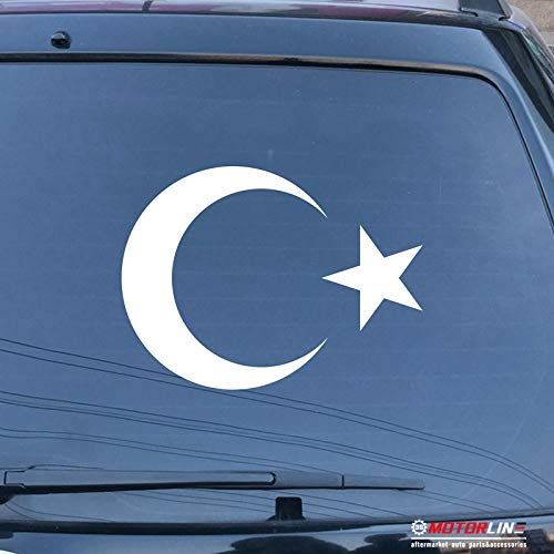 (3S MOTORLINE Flag of Turkey Decal Sticker Car Vinyl Pick Size Color no bkgrd Turkish b (White, 6'' (15.2cm)))
