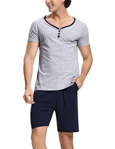 Hawiton Men's Sleepwear Shorts Set Short Sleeve Lounge Pajama Sleep Nightwear