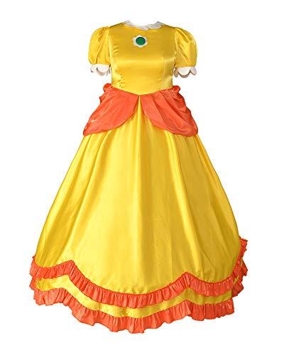 Adult Daisy Costume (miccostumes Women's Plus Size Yellow Princess Daisy Cosplay Costume Dress (1X/2X,)
