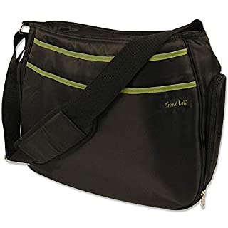 Black with Avocado Ultimate Hobo Style Tote Diaper Bag with Shoulder Strap