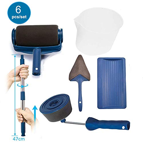 Paint Roller Brush Kit,House Paint Rollers, Adjustable Telescopic Poles, Paint Roller Pro, Multifunction Paint Runner Brush Set for DIY House,School,Office Painting Wall,Ceiling(Blue) (B)