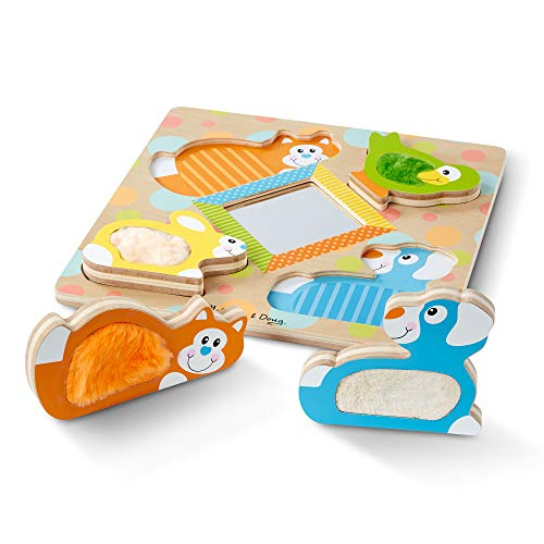 (Melissa & Doug First Play Wooden Touch & Feel Puzzle Peek-A-Boo Pets with Mirror)