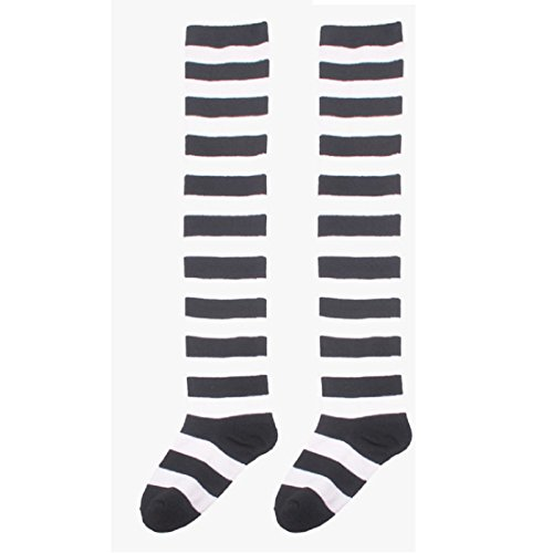 OVERMAL Womens Halloween Cosplay Striped THIGH HIGH SOCKS Over Knee (Black) (Halloween Germany)