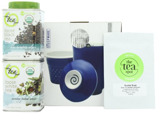 Handcrafted Ceramic Tea Mug with Organic Loose Leaf Teas Gift Set by The Tea Spot