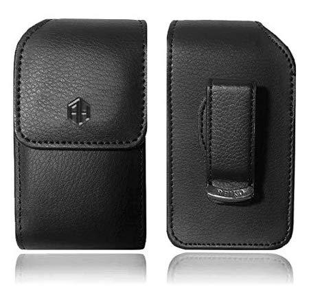 Vertical Reiko Leather Pouch, Holster Flip Phone Belt Case Fits Doro 7050 Kyocera Cadence LTE, DuraXTP, DuraXV LTE, DuraXV Plus, DuraXE, Convoy 4, Most Large FLIP Phones, Insulin Pumps,