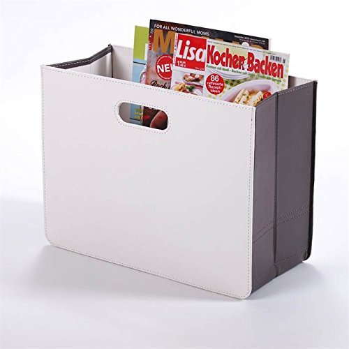 Modern NEWSPAPER & MAGAZINE RACK HOLDER box for from XTRADEFACTORY white (Newspaper Leather)