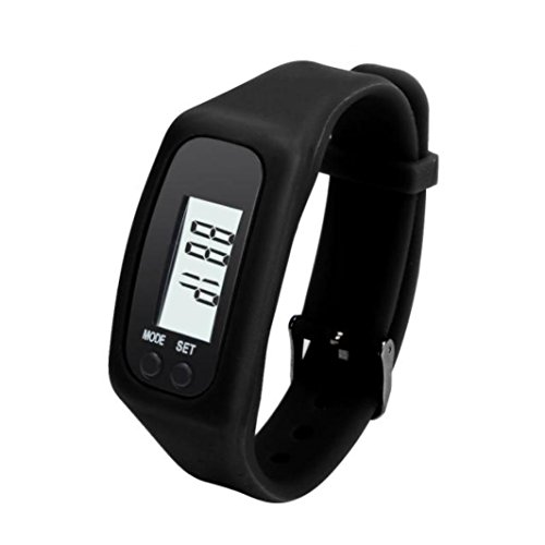 Clearance Sale!Unisex Watches,Shinericed Unisex Digital LCD Pedometer Run Step Walking Distance Calorie Counter Watch Bracelet Wristband Sports Fitness Tracker (Black) (English Pedometer)