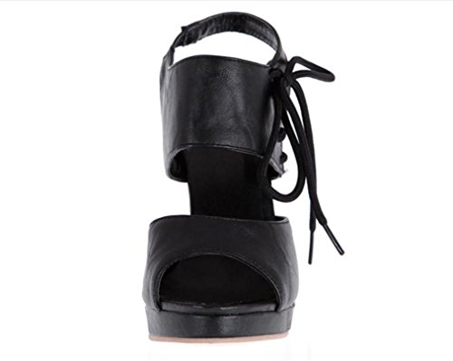 YCMDM Sandali con tacco impermeabili SCARPE DONNA Grandi Dimensioni Scarpe Sandali , black , 36