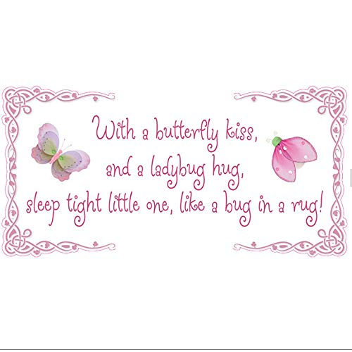 Butterfly Kiss Ladybug Hug Quote Removable Vinyl Wall Sticke