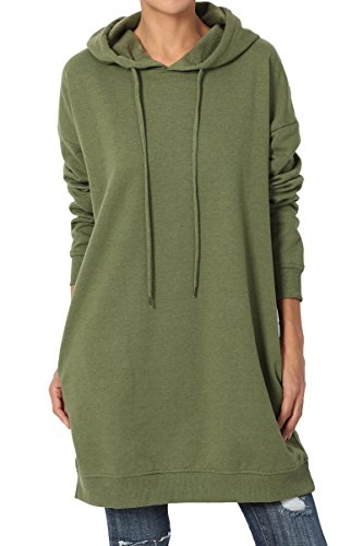 TheMogan Women's Hoodie Loose Fit Pocket Tunic Sweatshirts Olive Green S/M