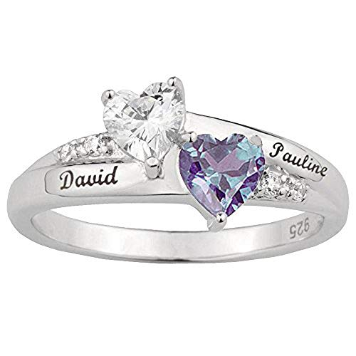 Janjewelry Sterling Silver Engraved Name Rings for Her Personalized Mothers Rings 2 Birthstones 2 Names Engagement Rings for Couples Size 5