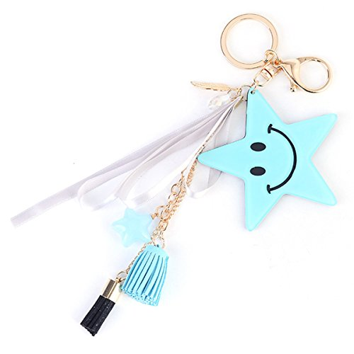 ZOONAI Five Pointed Star Shaped Keychain Smiling Face Tassels Car Keyring Holder Purse Handbag Pendant (Blue) (Star Shaped Keychain)