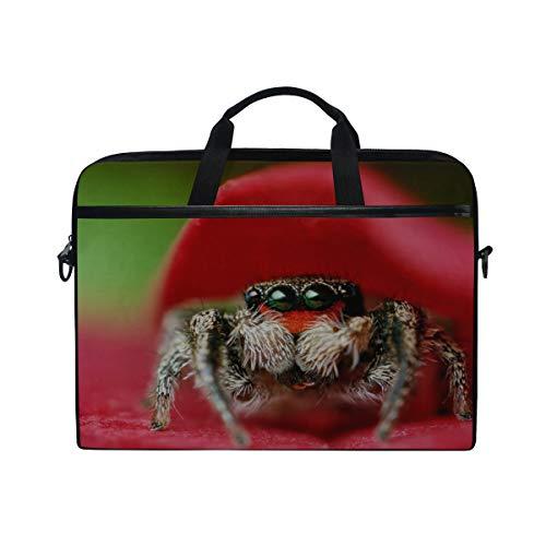 (Rh Studio Laptop Bag Spider Eyes Leaves Flower Laptop Shoulder Messenger Bag Case Sleeve for 14 Inch to 15.6 Inch with Adjustable Notebook Shoulder)