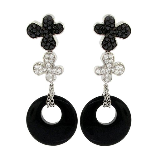 Sterling Silver Flower/Eternity Circle Earrings w/Black Onyx / Black & White CZs