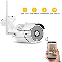 Joyhero HD IP Security Camera 1280 x 720p WiFi Indoor/Outdoor Surveillance System IP66 Waterproof Night Vision Motion Detection Plug and Play for Pet or Baby Monitor, Home Security White