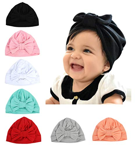 DANMY Baby Girl Hat with Rabbit Ears Toddlers Soft Turban Knot Bow Cap (Bow (7PCS))