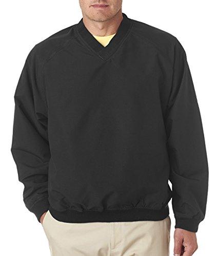 (Ultraclub 8926 UC V-neck Windshirt - Black/Black - L)