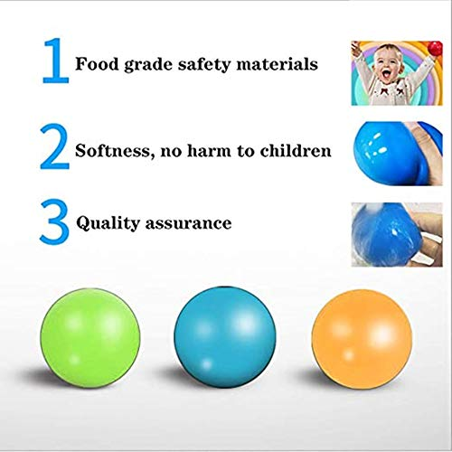 BZQH-TANG Air Models ,Luminescent Stress Balls, Sticky Wall Balls Ceiling Balls, Squishy Ball Glow Stress Relief Toys for Kids and Adults, Fun Toy for Anxiety and More(4 PCS) (Blue)