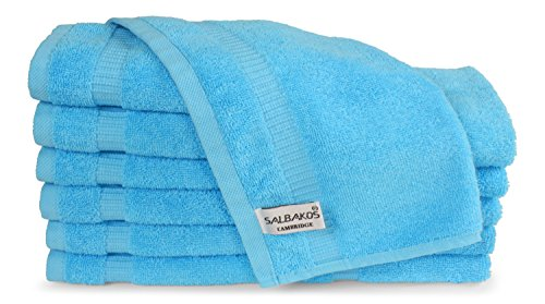 SALBAKOS Luxury Hotel & Spa Turkish Cotton 12-Piece Eco-Friendly Washcloth Set for Bath, 13 x 13 Inch, Aqua