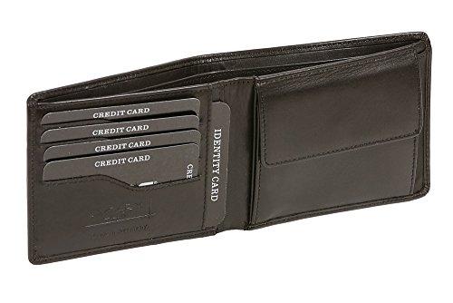 Cartera sin solapa muy delgada para señores y señoras (con la caja de madera) LEAS, Piel auténtica, negro - ''LEAS Elegance-Edition''
