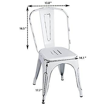 Furmax Metal Chairs Distressed Style Dream White Indoor/Outdoor Use Stackable Chic Dining Bistro Cafe Side Chairs(set of 4)