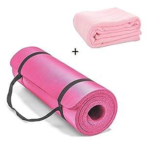 CXZC Tapis de Yoga, Tapis d'exercice antidérapant, Tapis d'entraînement Extra épais pour Le Yoga, Tapis de Fitness Pilates avec Serviette et Sangle de Transport, 183 x 61 x 1 cm accessoires de fitness [tag]
