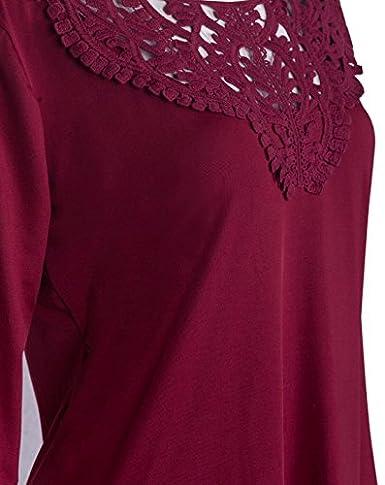 Oberteil Frauen Hemd Rundhals Crochet Aushöhlen Slim Fit Langarm Loose  Einfarbig Drapiert Elegant Tops: Amazon.de: Bekleidung