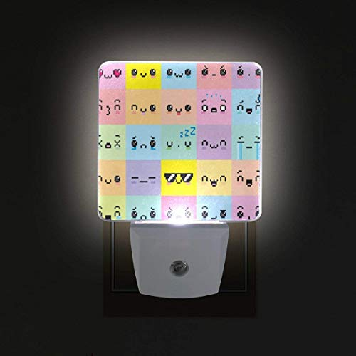 xiaodengyeluwd 2 Pack Emoji Different Cartoon Pixel Faces Plug in LED Night Light Auto Sensor Dusk to Dawn Decorative Night for Bedroom, Bathroom, Kitchen, Stairs,Baby's Room, Energy Saving -