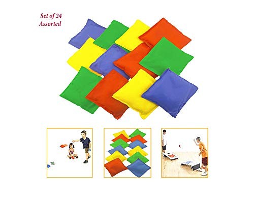 """Adorox Set of 24 Assorted 5"""" Nylon Bean Bags Cornhole Primary Colors Carnival Game"""