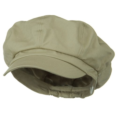 Big Bill Khaki (Big Size Cotton Newsboy Hat - Khaki (For Big Head))