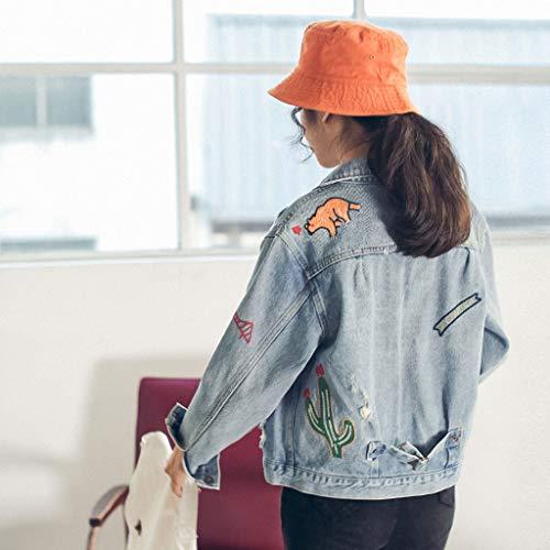 Blu Ricamato Lunghe A Cappotto Dimensioni Con Donna L Nz Da colore Blu Maniche Studente qBYUqwO