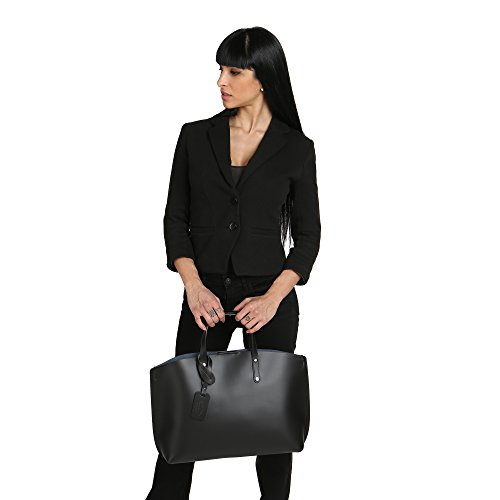 Chicca Borse Frau Handtasche aus echtem Leder Made in Italy 47x30x14 Cm Schwarz wIEXoUcn